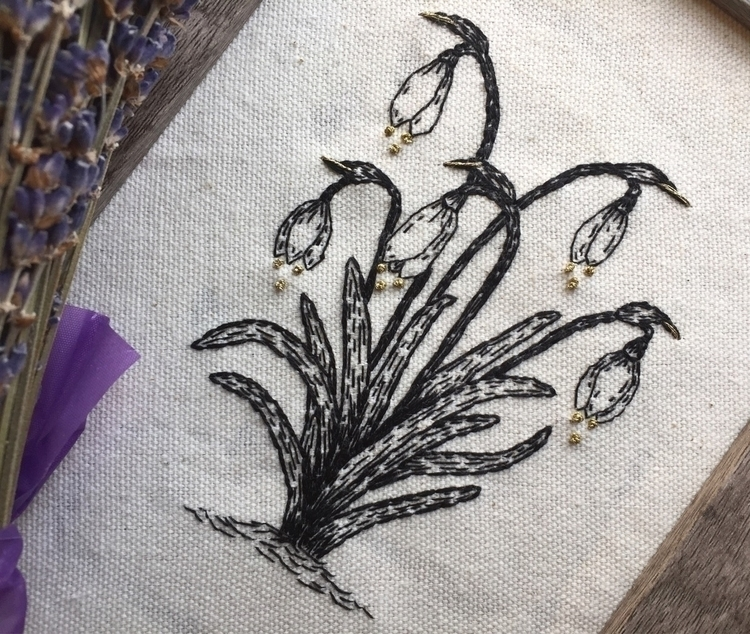 snow drops morning spring - embroidery - spookyghoul | ello