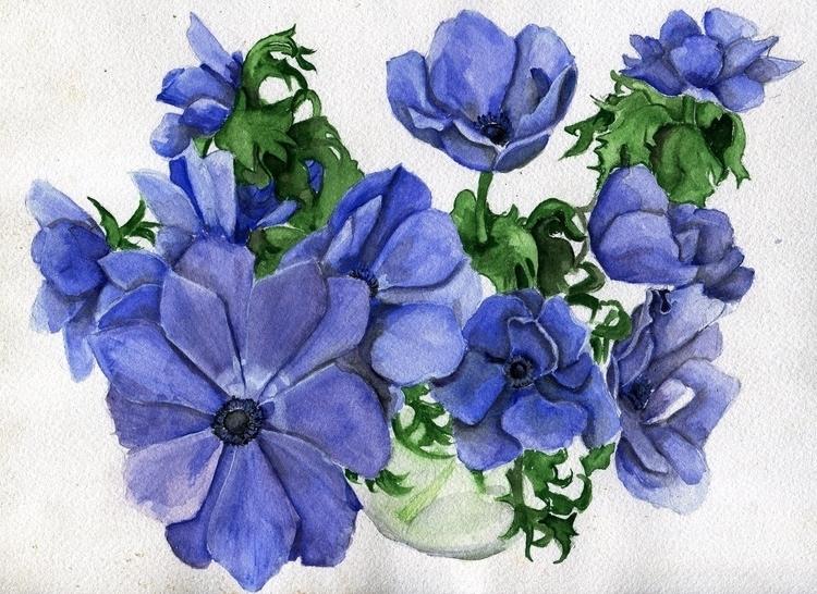 Blue Day Watercolor, Gouache Ch - havekat | ello