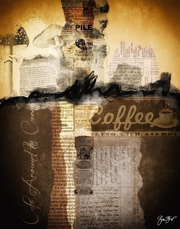 Cafe Corner - collage, mixedmedia - ginastartup | ello
