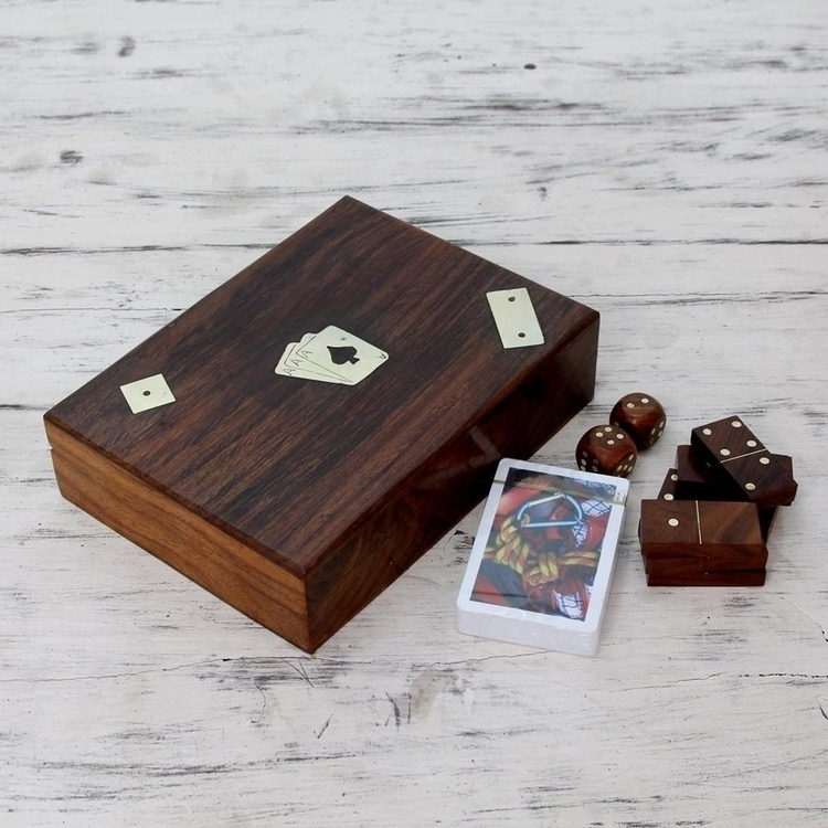 Cards Dice Dominos Set Wood Box - uniquecollectiblesgifts | ello