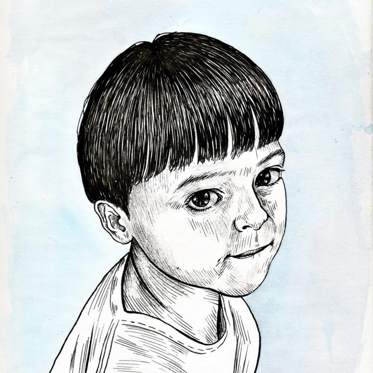 Garotinho Kid) Nanquim acrílica - ecambuijr | ello