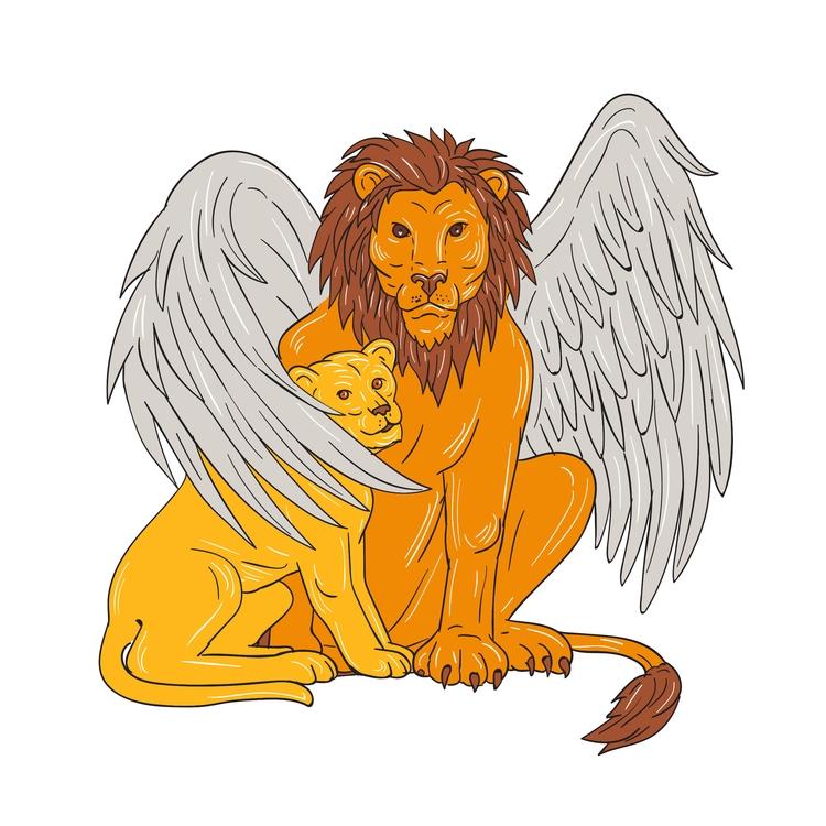 Wing - Winged, Lion, Cub, Drawing - patrimonio | ello
