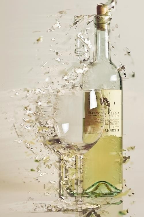 Wine bottle glass photographed  - josver | ello