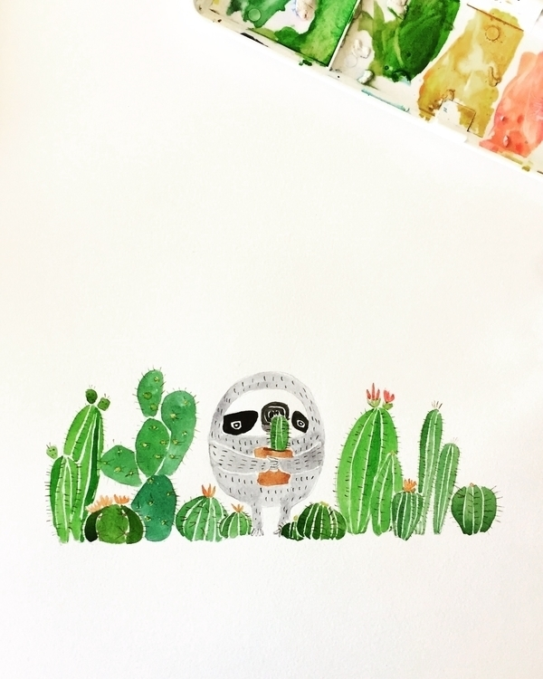 sloth friends:cactus::cactus::c - igimidraws | ello