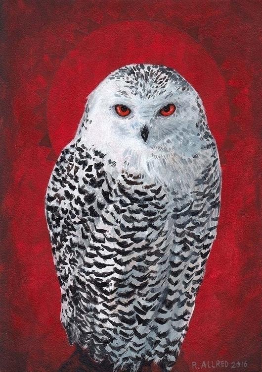 Snow Owl - Acrylic gesso board - rallred | ello