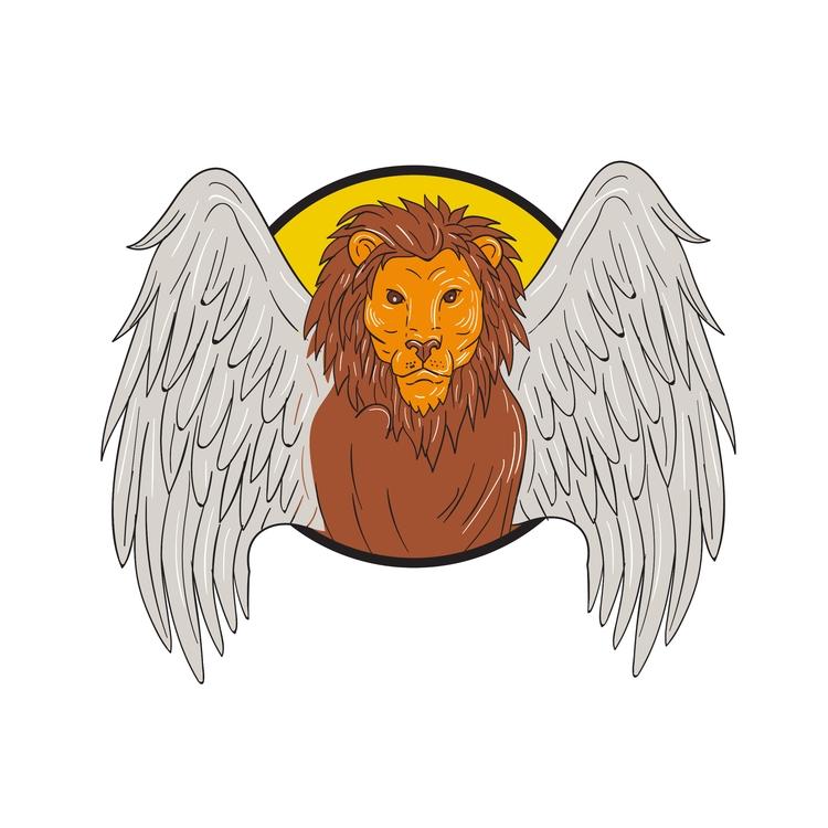 Circle - Winged, Lion, Head, Drawing - patrimonio | ello