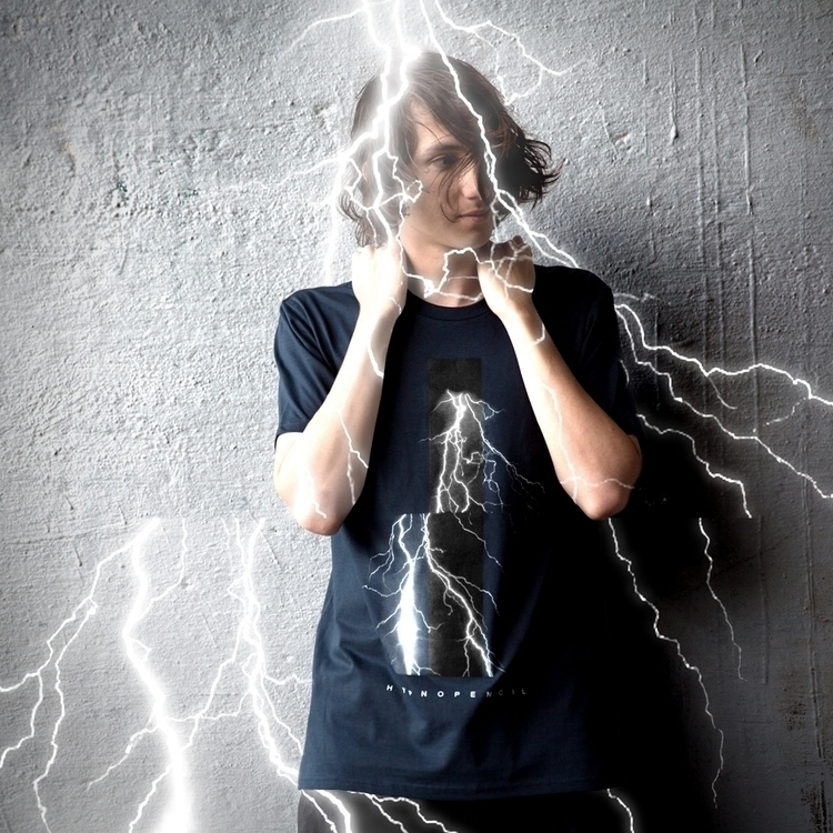 Thunder Tee / ink blue Hand-pri - hypnopencil | ello