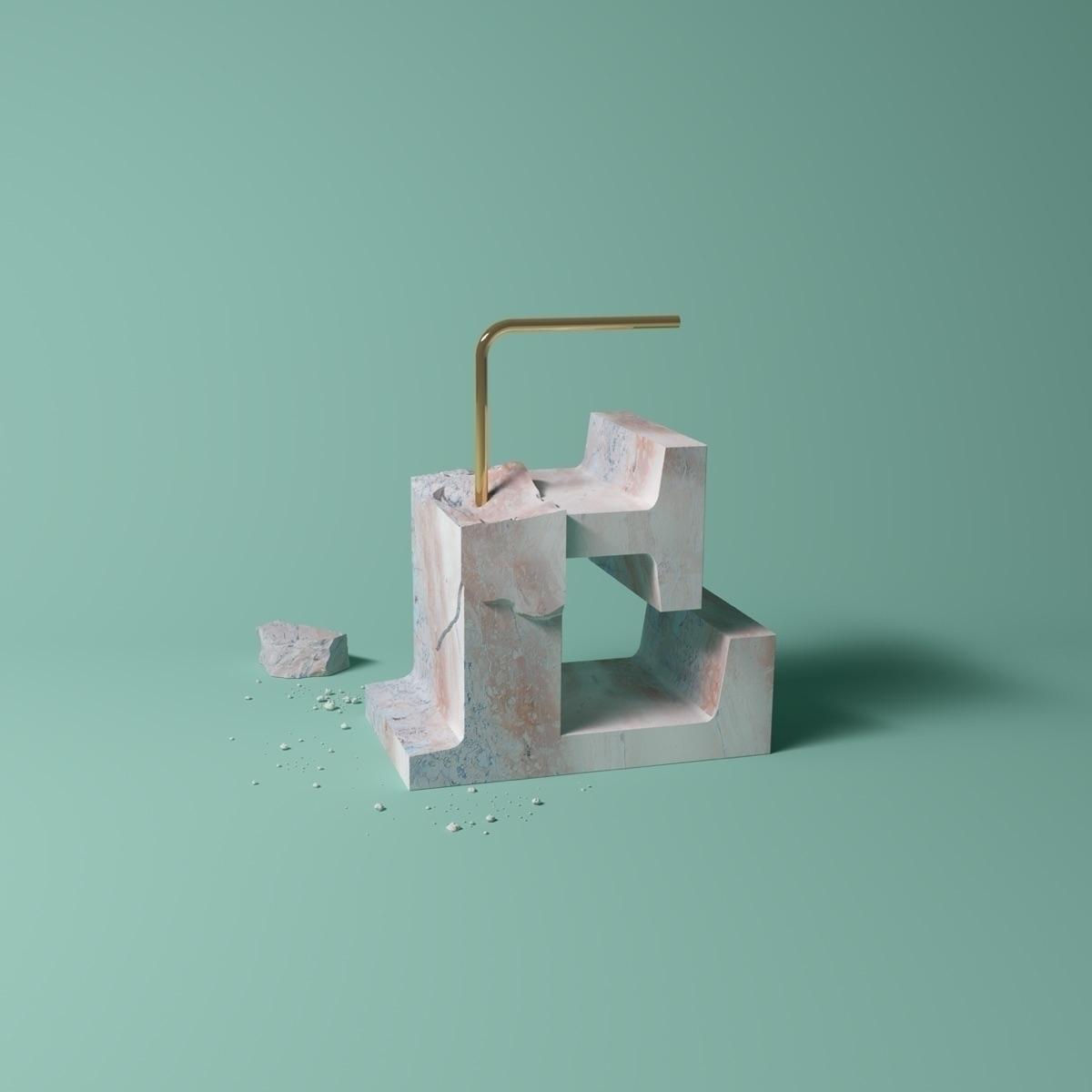 Letter - marble, type, art, cgi - molistudio | ello