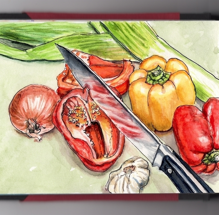 Eat Vegetables - watercolor, watercolour - doodlewash | ello