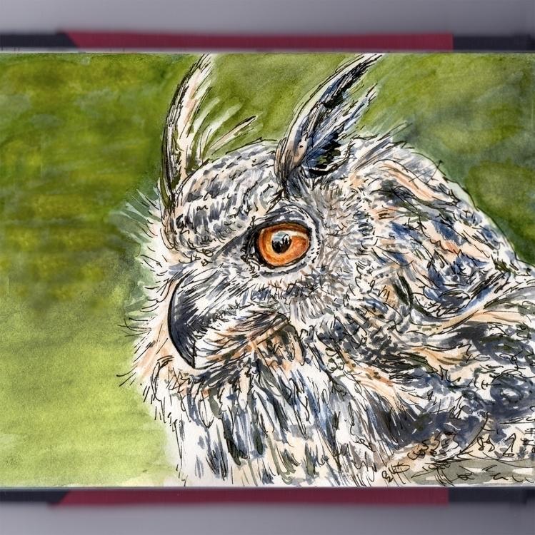 Owl Cemetery - watercolor, watercolour - doodlewash | ello