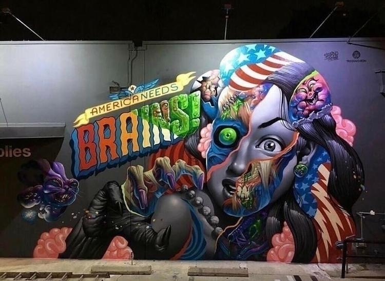 America brains! Artist: Tristan - streetartunitedstates | ello