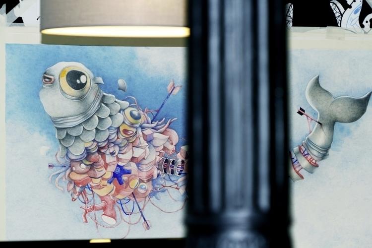 Leviatan - fish, painting, drawing - ollorens | ello