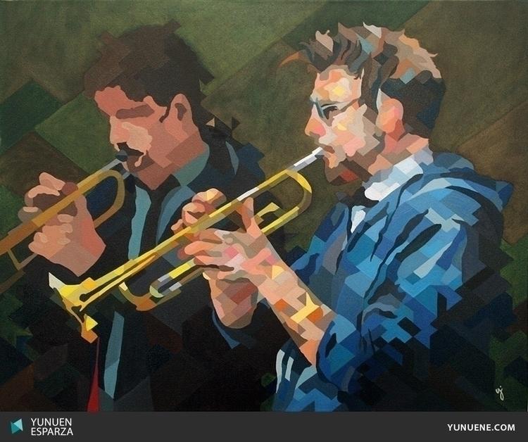 musics, oilpainting, blue, green - yunuene | ello