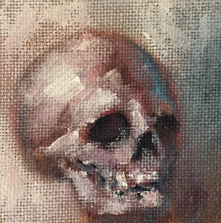Skull burlap. 6x6x1.5. $40 - kentack | ello