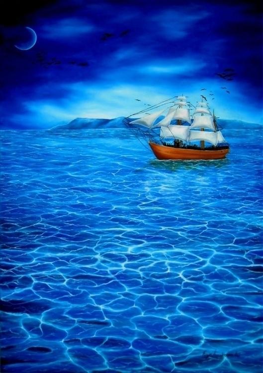 painting, art, prints, sailboat - fayeanastasopoulou | ello