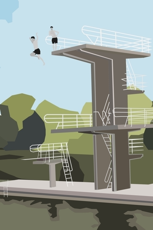 illustration, green, divingtower - sophieillustration | ello