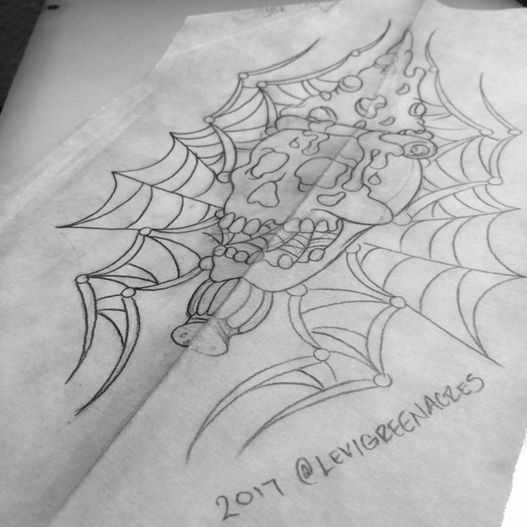 Pizza, skull, spider!, tattooidea - levigreenacres | ello