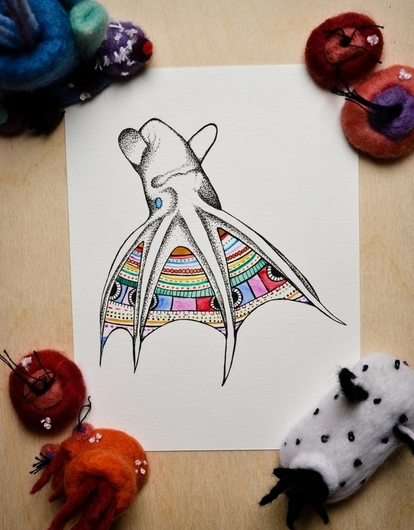 Vampire Squid - ink, watercolor - bowsbeadsbirds | ello