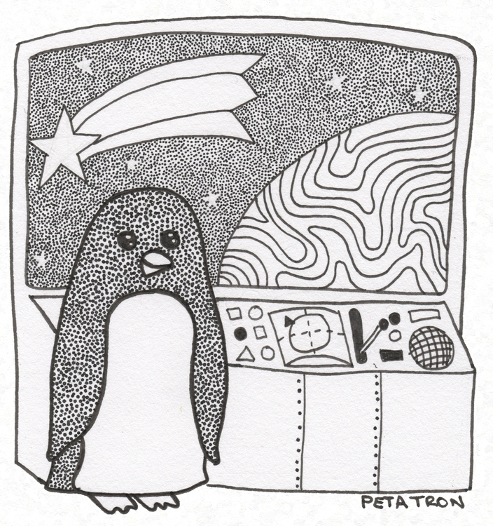 ink drawing. Otto Space Penguin - petatron | ello