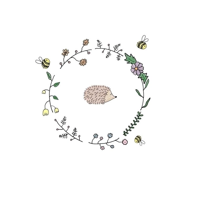 Hedgehog Bees Floral Wreath :re - teapotsforelephants | ello