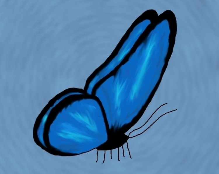 graphicart, drawing, blue, butterfly - splendifer | ello