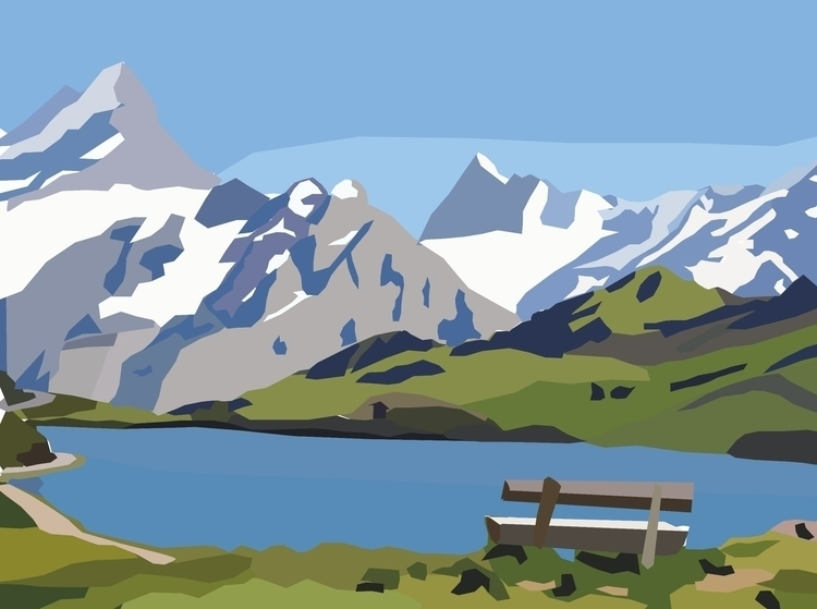 illustration, mountains, lake - sophieillustration | ello