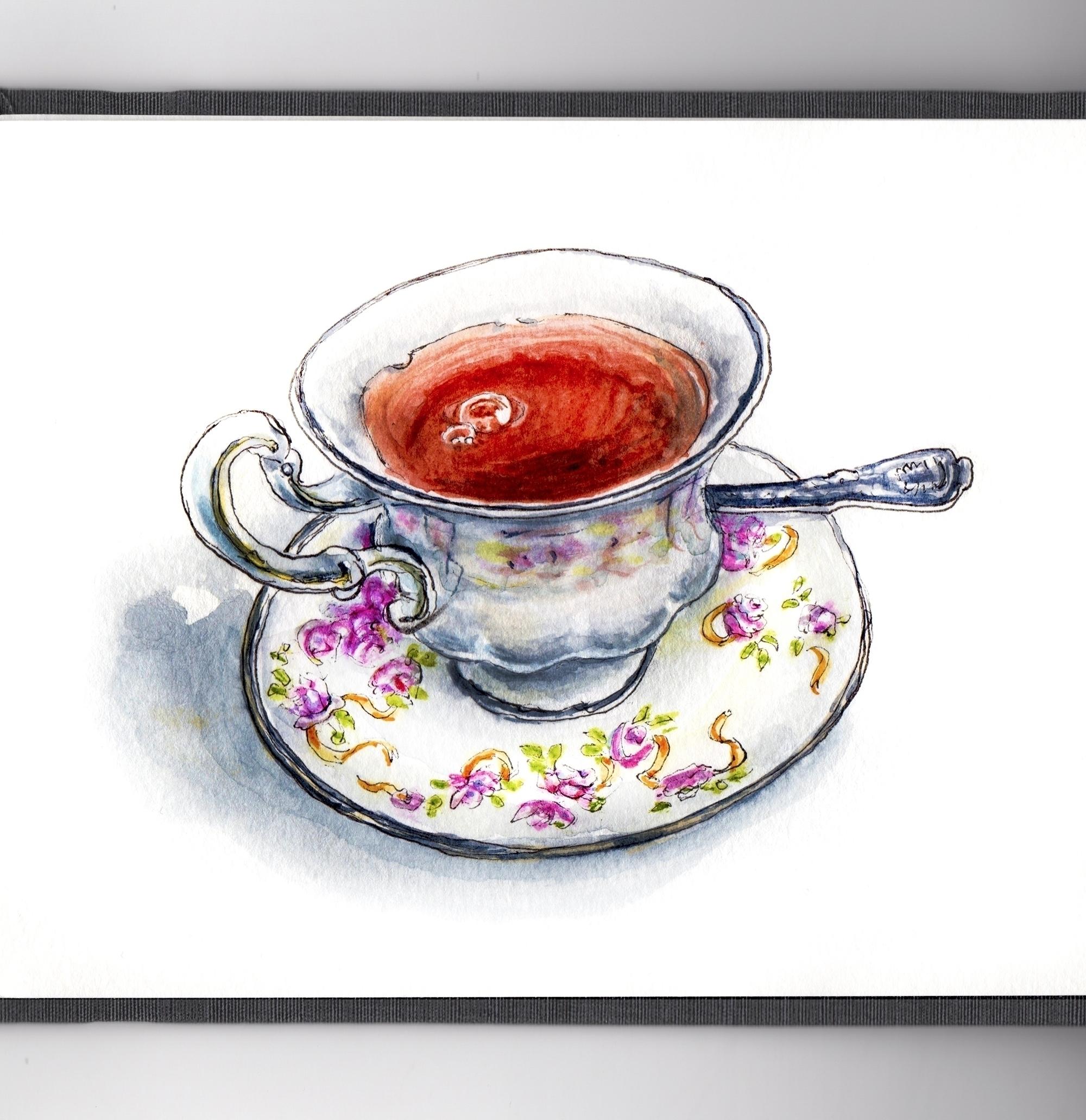 Spot Tea - watercolor, watercolour - doodlewash | ello