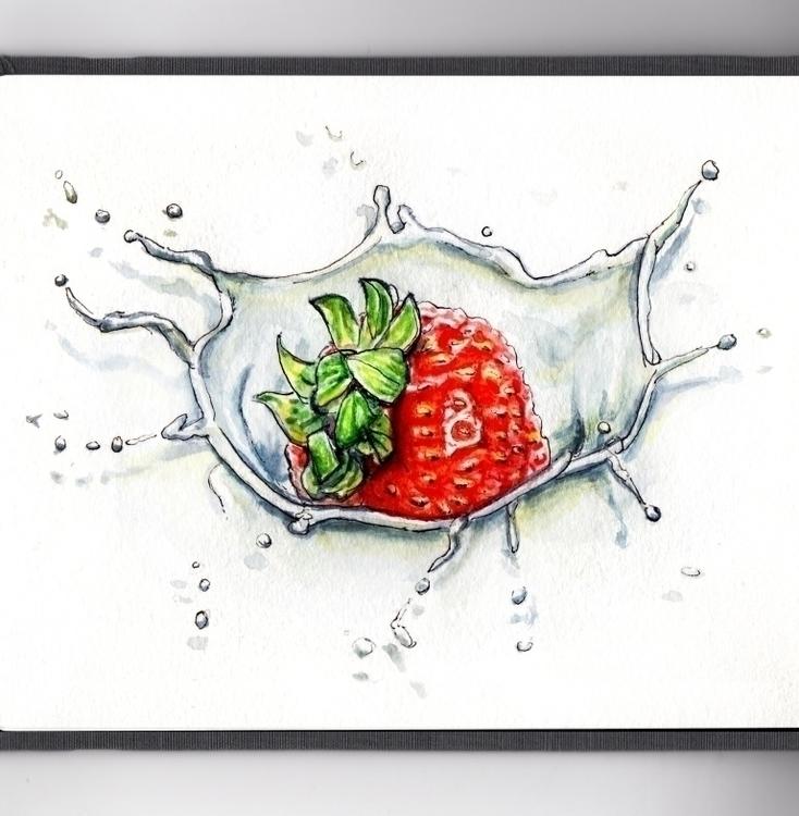 Strawberry Splash - watercolor, watercolour - doodlewash | ello