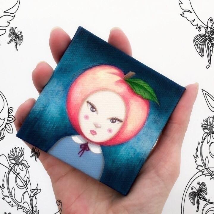 "sweet Peach"" mini painting.  - art - carolinaseth | ello"
