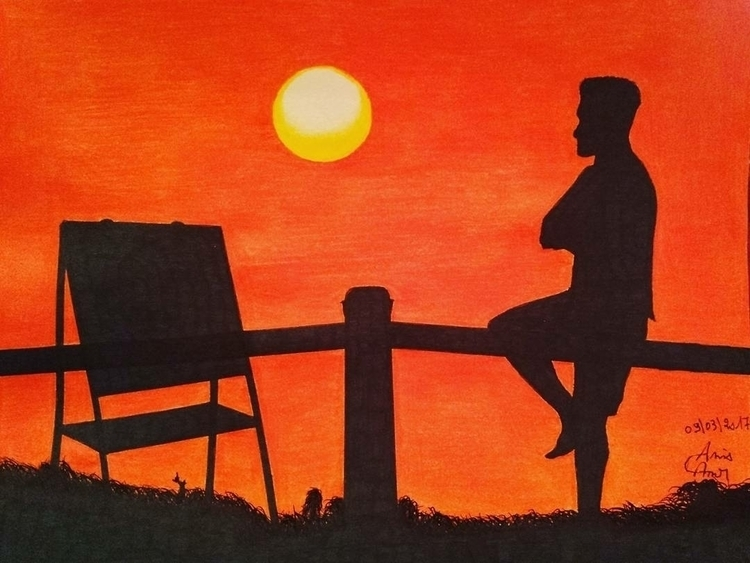 Sunset drawing - anis__beo | ello