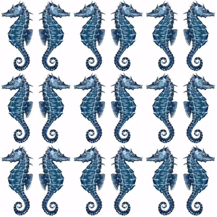 seahorse, blue, nautical, pattern - aliellydesign | ello
