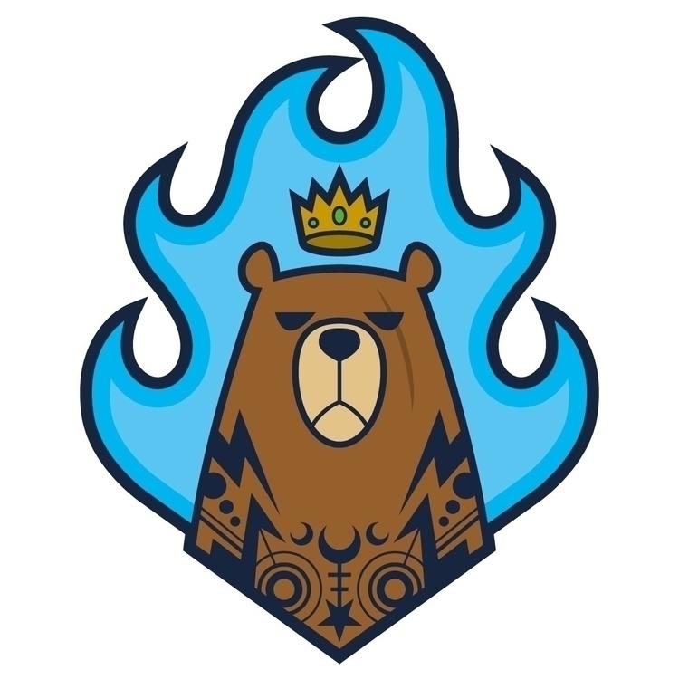 Burning King  - king, bear, tattoo - diego_bao | ello
