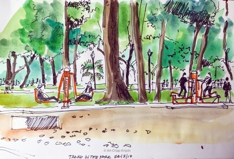 - Tango park quick watercolour  - artchapenjoin | ello