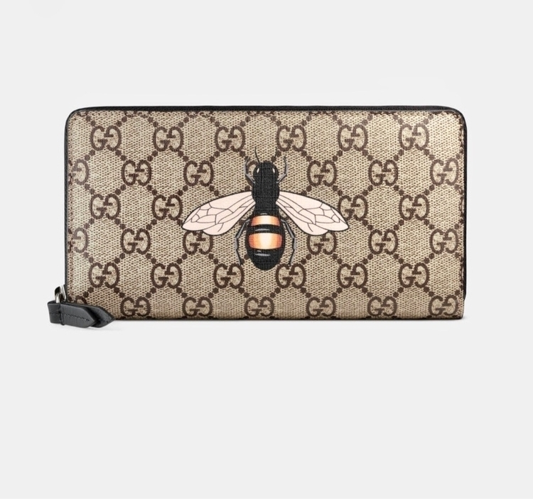 GUCCI Bee print GG Supreme zip  - 2beornot2be | ello