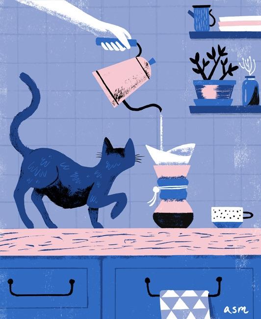 cat, coffee, illustration, artwork - alexander_mostov | ello