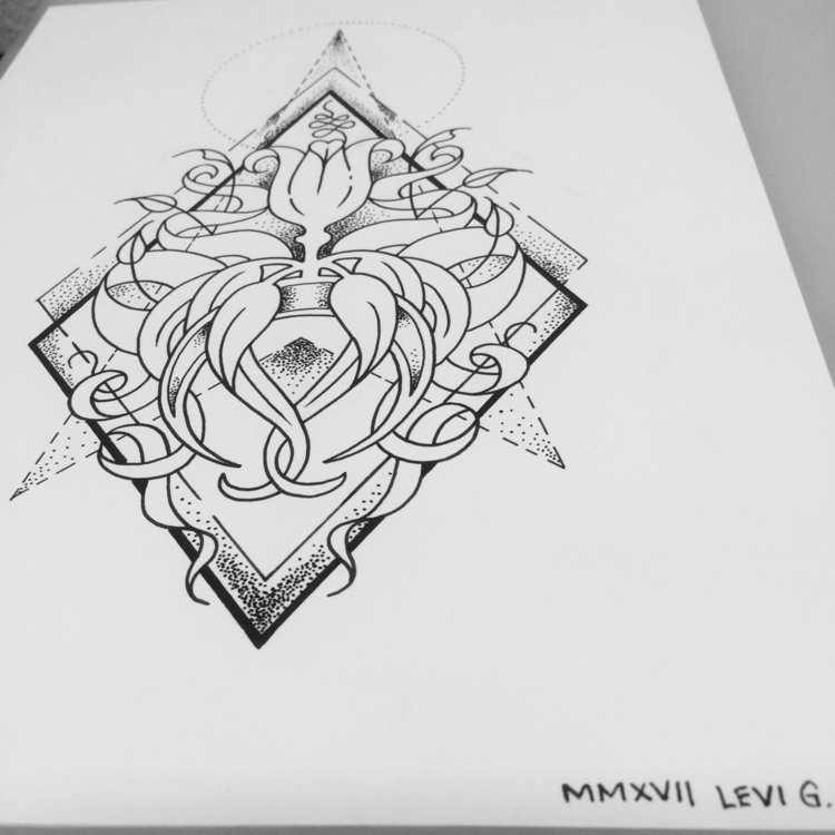 inspired print - ArtNouveau, geometrictattoo - levigreenacres   ello