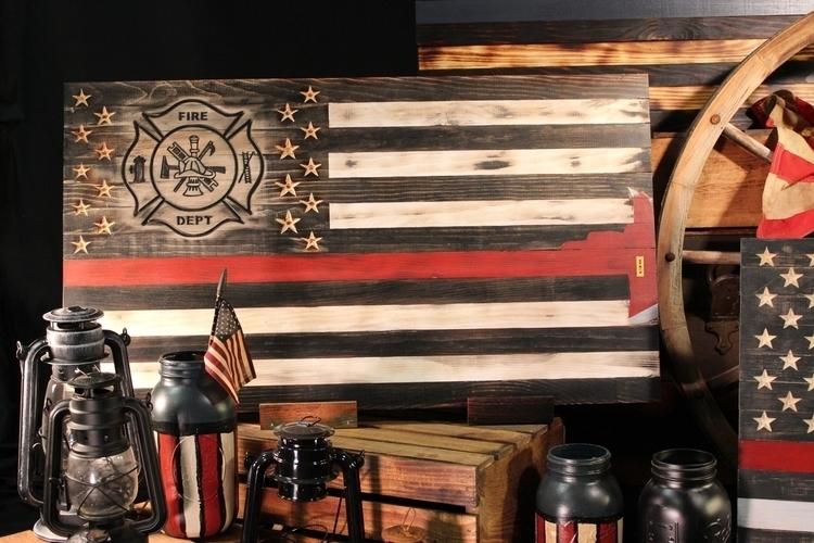 wooden signs rustic American fl - twiggysigns | ello