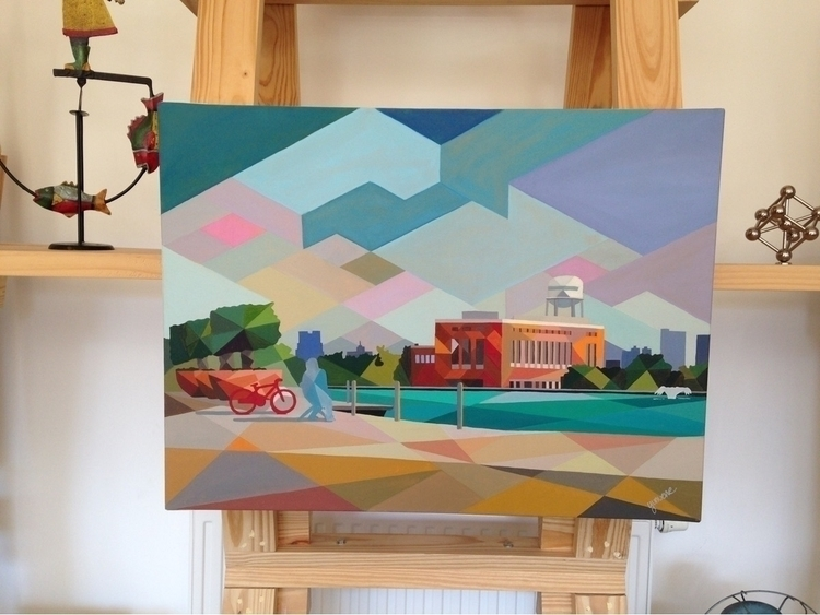 Fall city. Oil canvas. Augmente - yunuene   ello