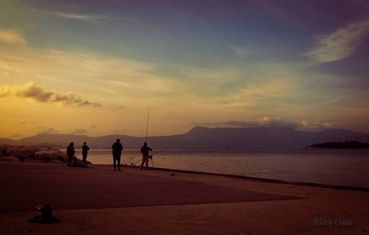 Sunset serenity - harbor, fishermen - mairoularissa | ello