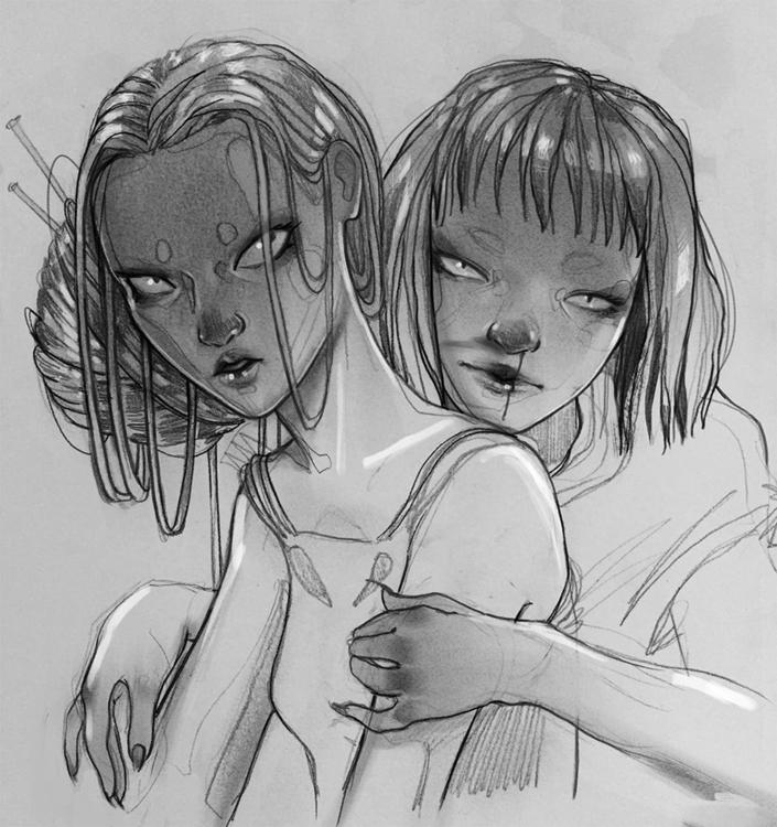illustration, drawing, blackandwhite - lupetto | ello