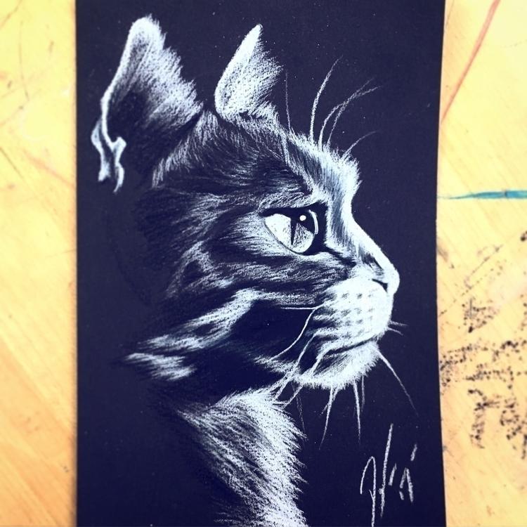 cat white prismacolor black pap - fessendenart | ello