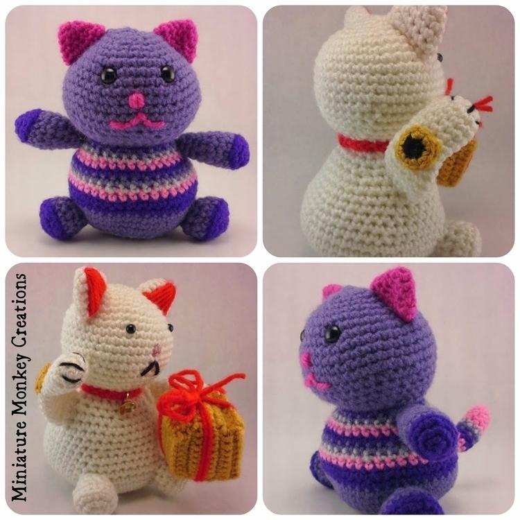 Meow! Happy Fat Kitty, Lucky Ca - miniaturemonkeycreations | ello