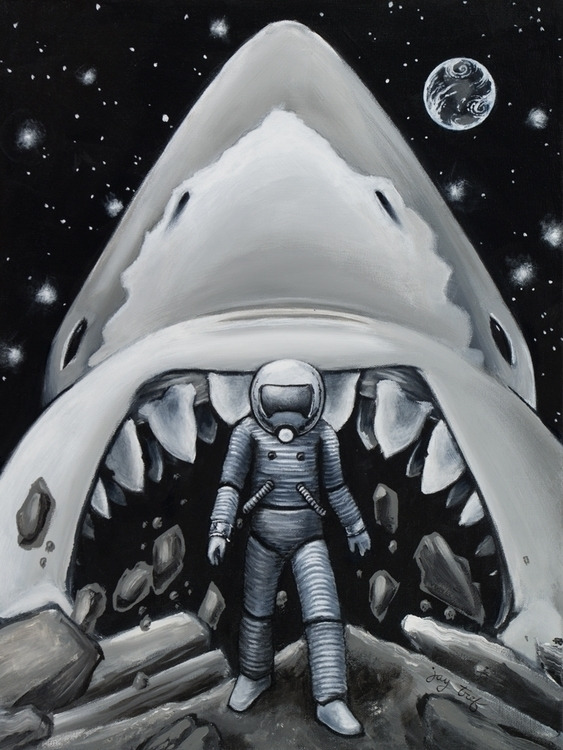 Moon Shark, Acrylic Canvas, 201 - jaytref | ello