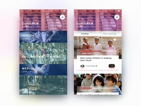 30 Charity App UI Design Inspir - benim_jbweb | ello