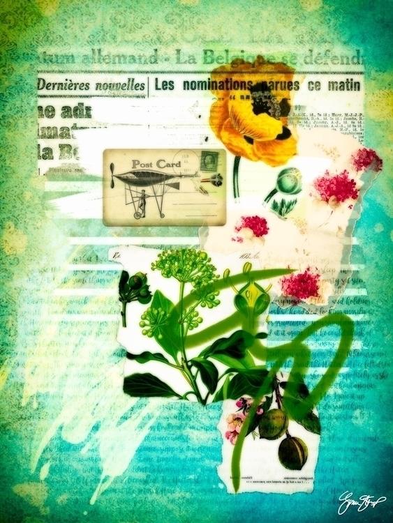 Flowers Blue - mixedmedia, collage - ginastartup   ello
