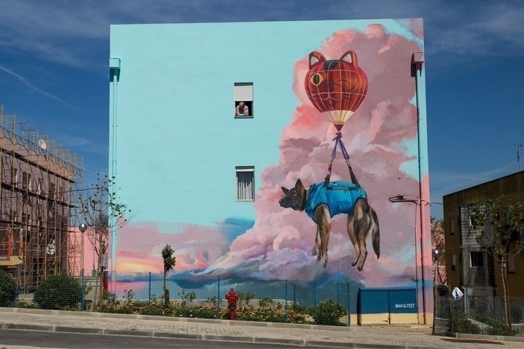 Dog rescued cat balloon Artists - streetartunitedstates | ello