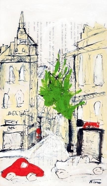Rue de la Harpe, Paris Oil, Pen - nealturner | ello