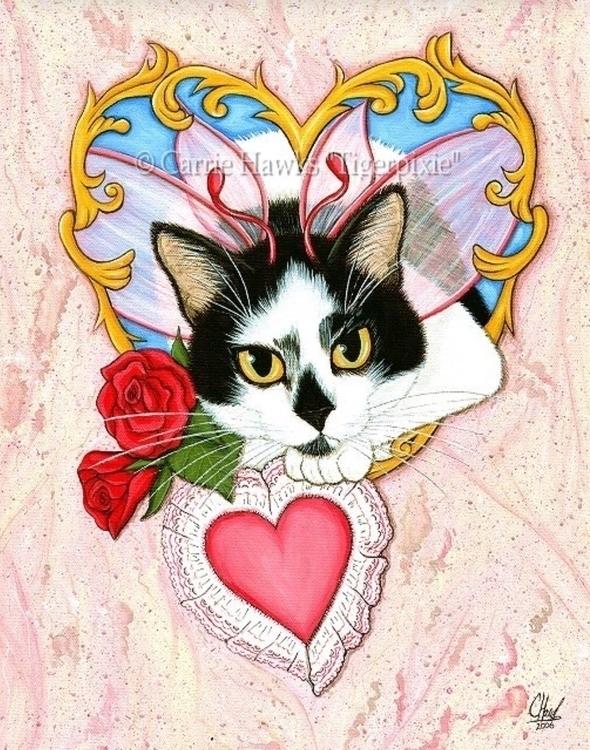 Feline Valentine Sold! 12x16 Ac - tigerpixie | ello