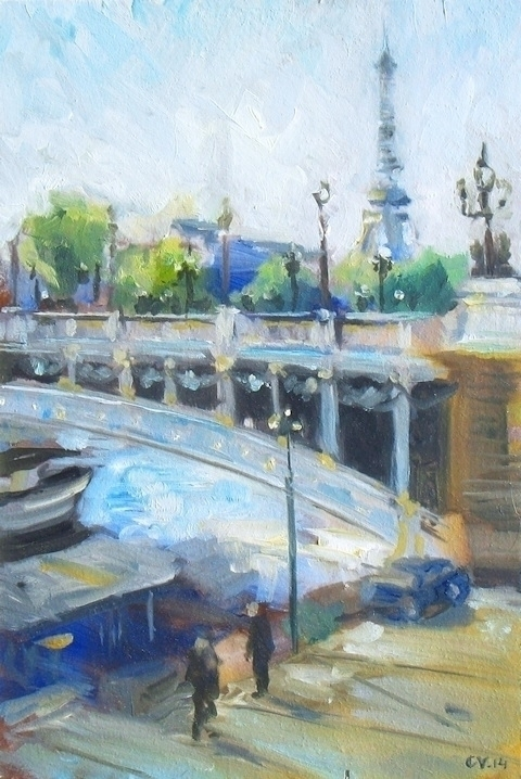eiffel tower seine :heart:️ poe - poetic_oilpainting | ello