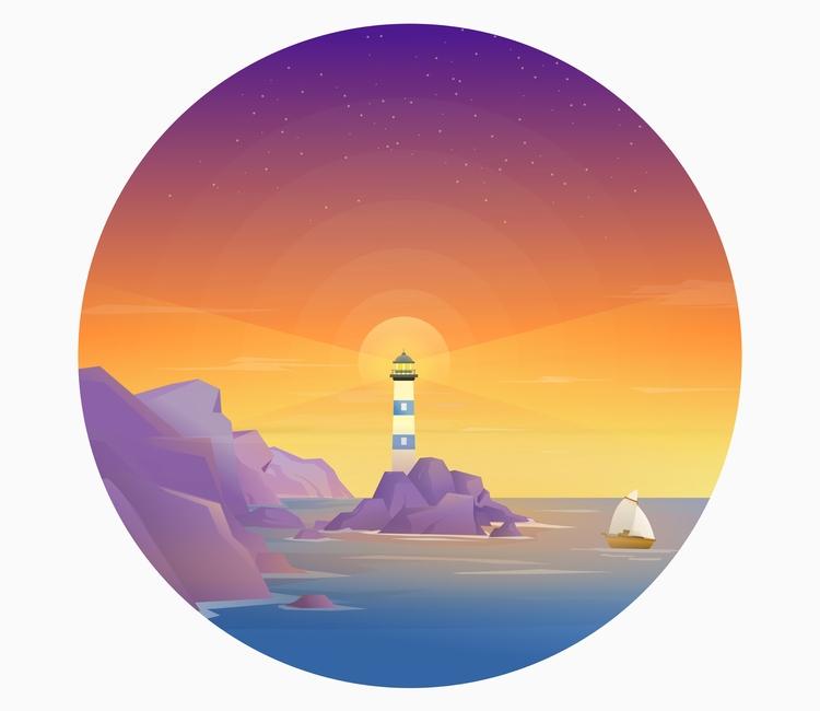 lighthouse vector drawing - sea - ozant291 | ello